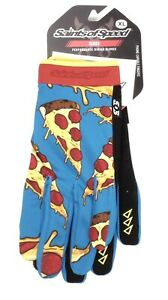 """Saints of Speed """"Pizza Slices"""" Cycling Gloves,Adult Size Extra Large,Blue/Yellow"""