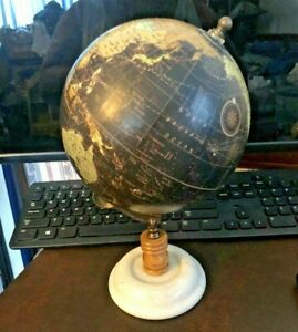 BLACK & GOLD DESK GLOBE WITH MARBLE BASE - EXCELLENT USED CONDITION