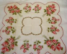 Vintage Ladies Floral Hankie Pink Red Roses Scalloped Edge Unused 16""