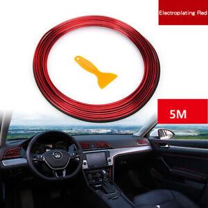 5M Red Trim Edge Gap Line Car Interior Exterior Decoration Styling Molding Strip