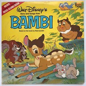 Original Vintage Walt Disney Bambi Read Along Story Book & Record LP Vinyl Album