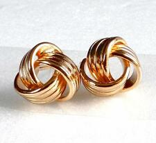 Women Girl 18K Yellow Gold Plated 10mm Multi Twist Ball Stud Earrings no Stone