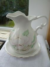 Large ceramic floral wash stand jug & bowl c1980's Retro *COLLECT WR5*
