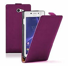 Ultra Slim PURPLE Leather Flip Case Cover Pouch For Sony Xperia M2 Aqua experia