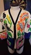 VTG 80s Berek Hand Knit Pima Cotton Cardigan Sweater Garden Floral Scarecrow