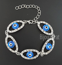 Nazar Evil Eye Occhio Strass argento bracciale turco magico occhio sguardo birichino