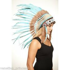 Teal Feather Native American Indian Headdress Coachella SH006 USA SELLER