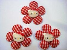 10 Padded Check Gingham Kitty Resin Fabric Flower Bow Applique/Craft/trim D1-Red
