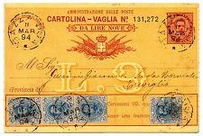 1891/96 REGNO 4 VALORI SU CARTOLINA VAGLIA 15 CENTESIMI VIAGGIATA C/9476
