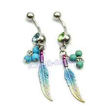 Colorful Feathers Shape Rhinestone Belly Ring Body Button Bars Jewellery