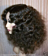 Drag Queen Wig Frizzy Shoulder Length Brown