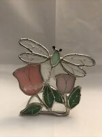 """Stained Glass & Beaded Dragonfly Votive Candle Holder 4.5"""" Tall"""