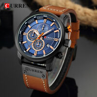 Curren 8291 Mens Leather Band Strap Wristwatch Sports Military Quartz Watch US