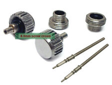 6.0mm Stainless Steel Replacement Screw Crown Tube For ETA 2824 + Stem X 2 Sets