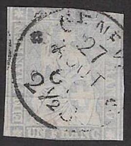 Switzerland 1855 Streubel - 1Fr Lavender with CDS Sc #31 Used, F - CV $1000.00