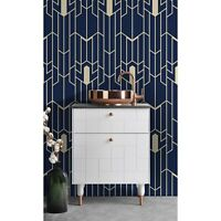 Geometric pattern removable wallpaper Navy and gold wall mural Peel and stick
