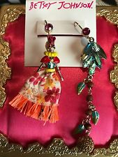 Betsey Johnson Calypso Dia De Los Muertos Tropical Skeleton Rio Fruit Earrings