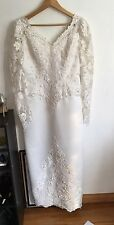 Oleg Cassini Embroidered Bead Pearl Cream Long Sleeve VNek Wedding DRESS 14 Gown
