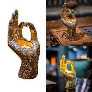 Buddha Candle Holder Mudra Hand Tabletop Tealight Decor Collectible O5G4