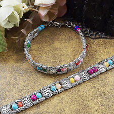 Free shipping New Tibet silver multicolor jade turquoise bead bracelet S03