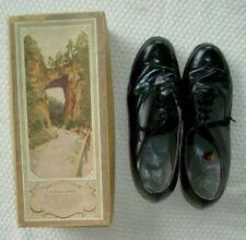 Vintage 1940's Natural Bridge Ladies' Black Kid Leather Tie Shoes sz 7.5D w/box