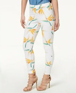 HUE Women's Tropical Floral Simply Stretch Skimmer Leggings, White