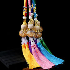 Chinese Feng Shui Glass Gourd Gold Foil Double Tassel Fortune For Wealth Success