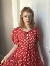 Vintage 30's Art Deco Adorable Sheer Red Polka Dot Gown Dress