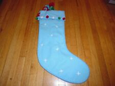 "New ! Holiday Christmas Green Blue and Red  Pom Christmas Stocking  22"" H"