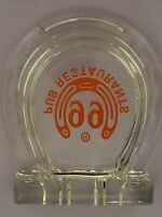 99 Ninety Nine Pub Restaurants Glass Red Horseshoe Cigar Cigarette Ashtray RARE