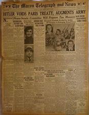 1935  Vintage Newspaper Hitler Voids Paris Treaty Nazis Woolworth Heiress Azalea
