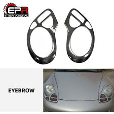 2pcs Headlight Eyebrow Eyelid Trim Moulding For Porsche 911 996 Carbon Fiber