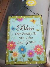 """Wall Decor """"Bless Our Family As We Live And Grow"""" Metal Wall Hanging NEW!"""