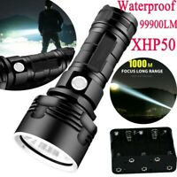 Super Bright 99900LM Flashlight XHP50 LED Torch Rechargeable Headlamp Waterproof