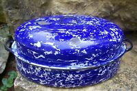Antique Large Blue White Swirl Graniteware Enamelware Roasting Pan Roaster & Lid