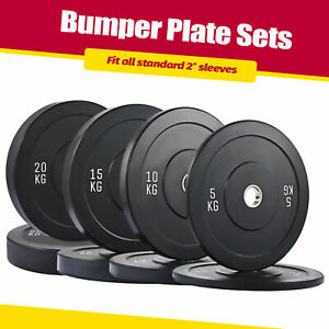 2x5/10/15/20kg 2'' Olympic Rubber Barbell Bumper Weight Plates Gym Home