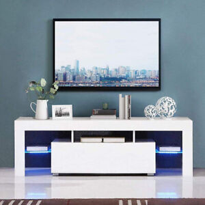 Modern TV Unit Stand Cabinet White Sideboard High Gloss Door Matt  Body LED Wood