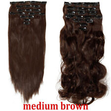 Highlight Thick Clip In Real AS Human Hair Extension Full Head Straight Curly YT
