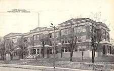 Pendelton Oregon High School Street View Antique Postcard K42922