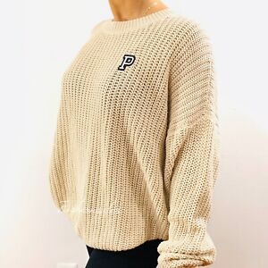 Victorias Secret PINK Forenza Cable Knit Pullover Sweater Large Beige