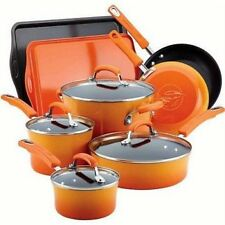 Rachel Ray Cookware Set Nonstick Non Stick Enamel Orange Rachael Pots Pans New