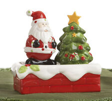 Set Of Santa & Christmas Tree Salt & Pepper Shakers on Roof Top Tray 3 Pieces
