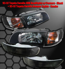 93-97 TOYOTA COROLLA CRYSTAL REPLACEMENT HEADLIGHTS LAMPS W/CORNER SIGNAL+BUMPER