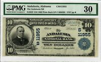 1902 $10 FR 633 Rare Plain Back PMG VF-30 Certified National Currency Note 9004