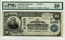 1902 $10 FR 633 Rare Plain Back PMG VF30 Certified National Currency Note 9004