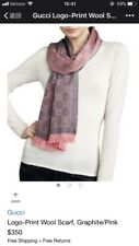 New Gucci stencil GG logo scarf-100 % wool taupe, pink, zinc- grey and magenta