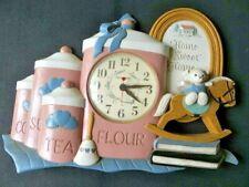 Burwood Wall Clock Homco Tea Flour Jar Teddy Bear On Horse Home Sweet Home Vtg