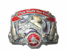 Budweiser Beer Vintage Buckle Union Made South Dixie Rebel Bar Saloon Tavern Gun