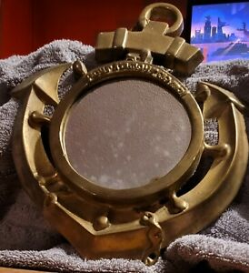 Vintage Brass Port Hole Wall Hanger Solid Mirror