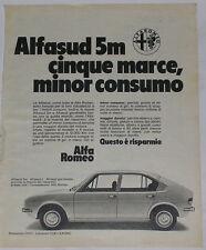 Advert Pubblicità 1976 ALFA ROMEO ALFASUD 5m